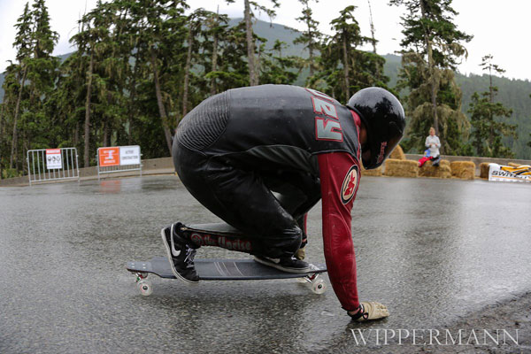 Team Rider Eric Hovey racing on the H20s at the 2012 Whistler Downhill Race.