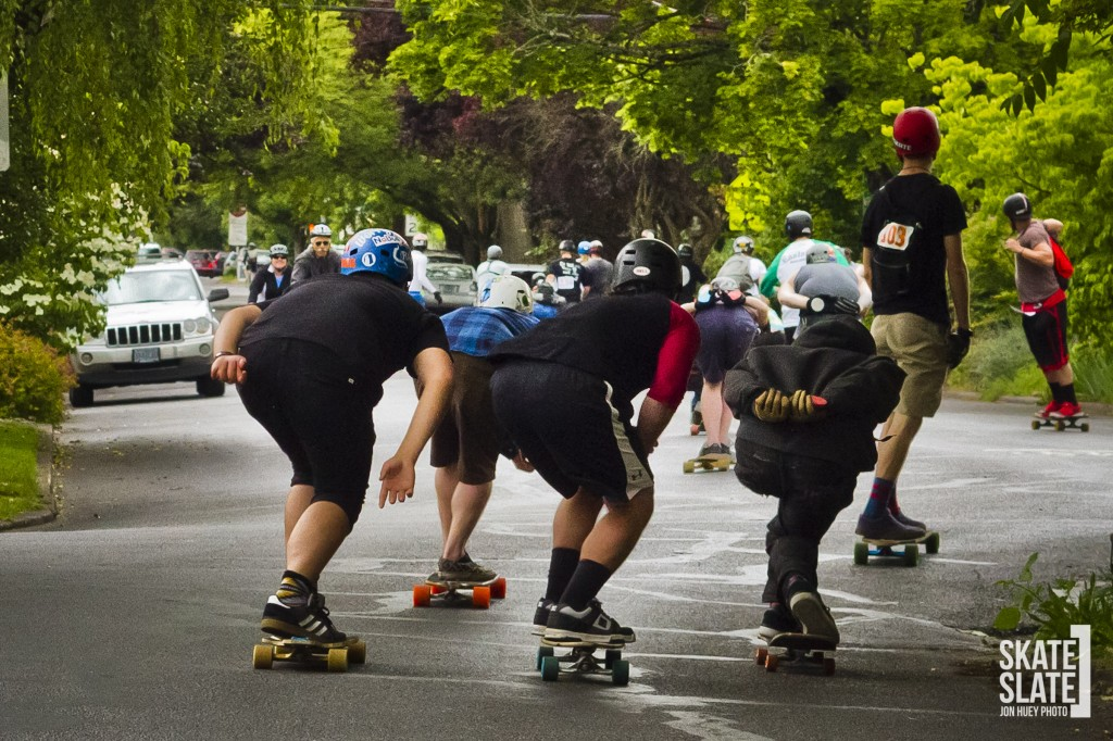 Riders tucking together and enjoying the radness of cruising through town in a big pack!