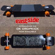 DK DropKick setup with Caliber 50 degree trucks and Abec 11 Amber Flashback wheels.